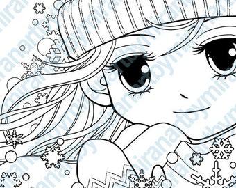 Christmas Digital Stamp-Winter Sofia, Instant Download, Digi Stamp, Printable