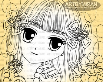 Digital Stamp-Alyssa's Pearls, Digi Stamp, Girl Coloring page, Printable Line art for Card and Craft Supply, Art by Mi Ran Jung
