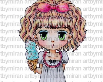 Digital Stamp - Two-scoop Tammy(#223), Digi Stamp, Coloring page, Printable Line art for Card and Craft Supply