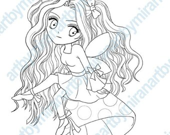 Digi Stamp,  little fairy sitting on mushroom illustration, instant download, anime, manga, chibi, Fantasy