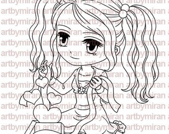 Digital Stamp - A Gift of Love(#174), Digi Stamp, Anime  Printable Line art for Card and Craft Supply, Love, Valentine's