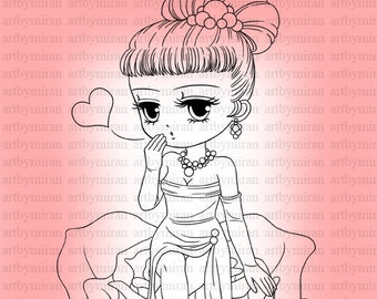 Valentine Digital Stamp(#26), Digi Stamp, Cute Girl  Printable Line art for Card and Craft Supply, Art by Mi Ran Jung