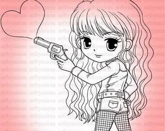 Valentine Digi Stamp-Love Shot, Pretty Girl  Heart Digital Stamp, Printable Line art for Card and Craft Supply