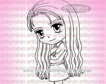 Digital Stamp - Sassy Sandra(#198), Digi Stamp, Coloring page, Printable Line art for Card and Craft Supply