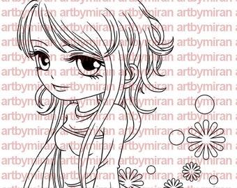 Digital Stamp - Davina(#192), Digi Stamp, Anime, Coloring Page,  Printable Line art for Card and Craft Supply