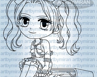Digital Stamps - Vannessa the Teacher(#301), Anime Coloring Page, Back to School
