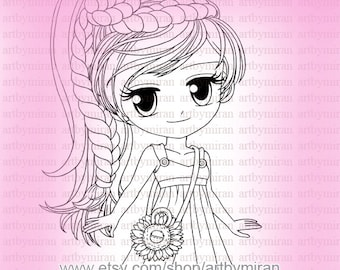 Digi Stamp-Miss Sunshine (#35 without Sunflowers background) , Digital Stamp, Coloring page, Art by Mi Ran Jung