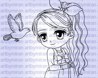 Digital Stamp - Peaceful Thoughts(#227), Digi Stamp, Coloring page, Printable Line art for Card and Craft Supply