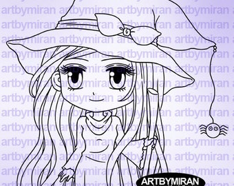 Halloween Digital Stamp - Witch Hazel(#244), Digi Stamp,  Printable Line art for Card and Craft Supply, Witch