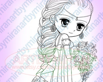 Princess Digital Stamps, Big Eye Doll Coloring Page, Coloring for Children,  Instant Download Digi Stamp, Anime, Manga