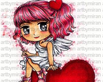 Valentine Digital Stamp - Angelica, Love