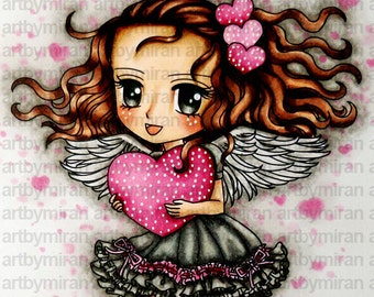 Digital Stamp - Sweet-Heart (#254), Digi Stamp, Anime  Printable Line art for Card and Craft Supply, Love, Valentine's