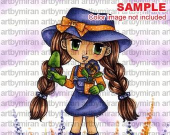 Digital Stamp - Pansie(#172), Digi Stamp, Coloring page, Printable Line art for Card and Craft Supply