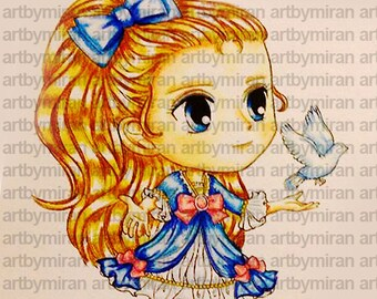 Digital Digi Stamps, Big Eye Doll Coloring Page, Girl with Dove, Coloring for Children,  Instant Download Digi Stamp, Line Art for Card