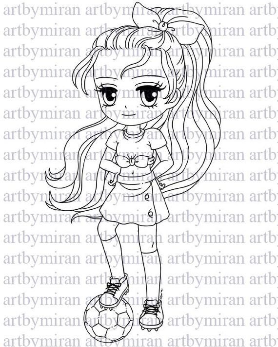 Digital Stamp-Soccer Player Jane, Digi Stamp, Printable Line art for Card  and Craft Supply