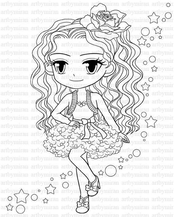 coloring pages girl   Digital Stamp-Star Pretty Girl Coloring page Big eyed girl ...