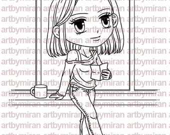Digital Stamp - Afternoon Aileen(#209), Digi Stamp, Coloring page, Printable Line art for Card and Craft Supply