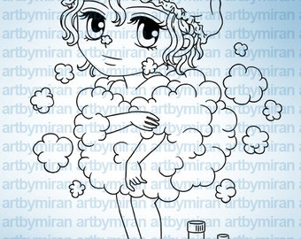 Digital Stamp - Buffie(#238), Digi Stamp, Coloring page, Printable Line art for Card and Craft Supply