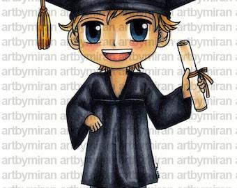 Digital Stamp - Graduating Gordon (ABM 008), Digi Stamp, Coloring page, Printable Line art for Card and Craft Supply