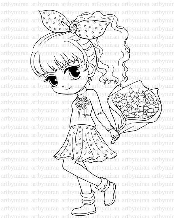 digi st isabel s bouquet pretty girl big eyed girl etsy 1920s Dress image