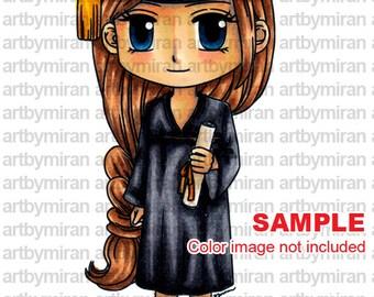 Digital Stamp - Graduating Kim(#199), Digi Stamp, Coloring page, Printable Line art for Card and Craft Supply