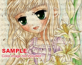 Digital Stamp-Lillian, Digi Stamp, Coloring page, Printable Line art for Card and Craft Supply, Art by Mi Ran Jung