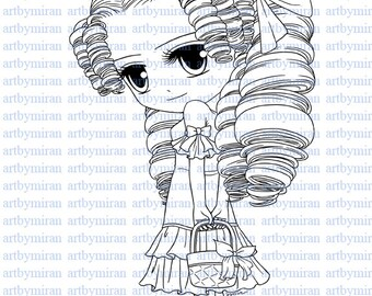 Digital Stamp-Missy Chic(#28), Coloring page, Digi Stamp, Printable Line art for Card and Craft Supply, Art by Mi Ran Jung