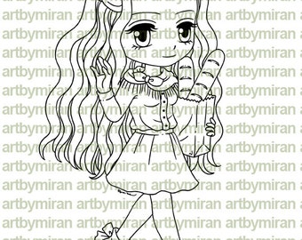 Digital Stamp - Weekend Rebecca, Digi Stamp, Coloring page, Printable Line art for Card and Craft Supply