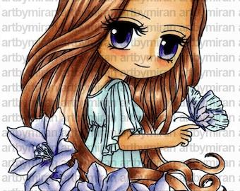 Digital Stamp - Sophia (#277), Digi Stamp, Coloring page, Printable Line art for Card and Craft Supply