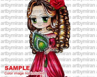 Digital Stamp-Victoria(#89), Digi Stamp, Coloring page, Printable Line art for Card and Craft Supply