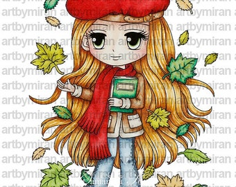 Digital Stamp-Autumn's Memoirs(#112), Digi Stamp, Coloring page, Printable Line art for Card and Craft Supply