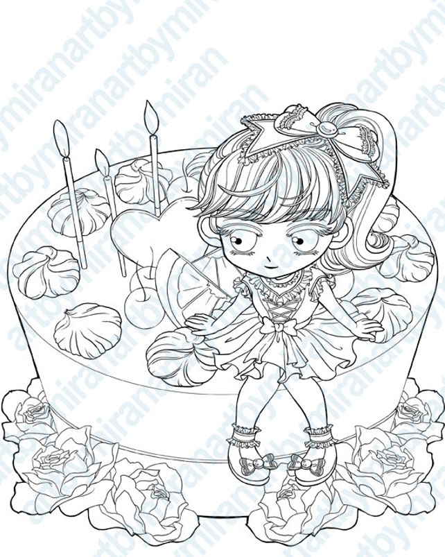 Página para colorear imagen de cumpleaños torta de Stamp-My   Etsy