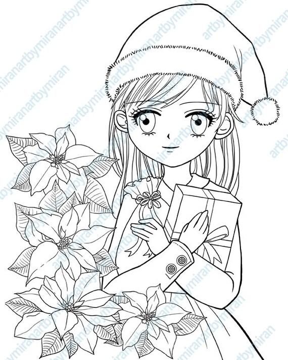 Sello Digital de la Navidad Poinsettia y niña para colorear   Etsy