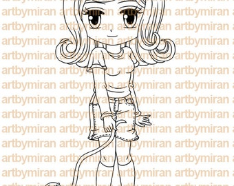 Digital Stamp - Darcy and her Duckie,  Digi Stamp, Coloring page, Printable Line art for Card and Craft Supply