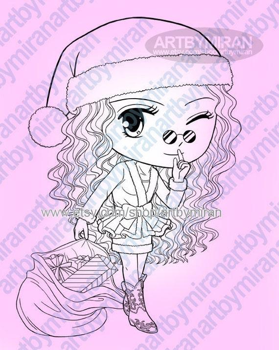 Navidad sello Digital linda chica Santa página para colorear | Etsy