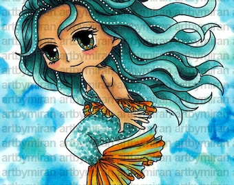 Digital Stamp - Mermaid Meara (#292), Digi Stamp, Coloring page, Printable Line art for Card and Craft Supply