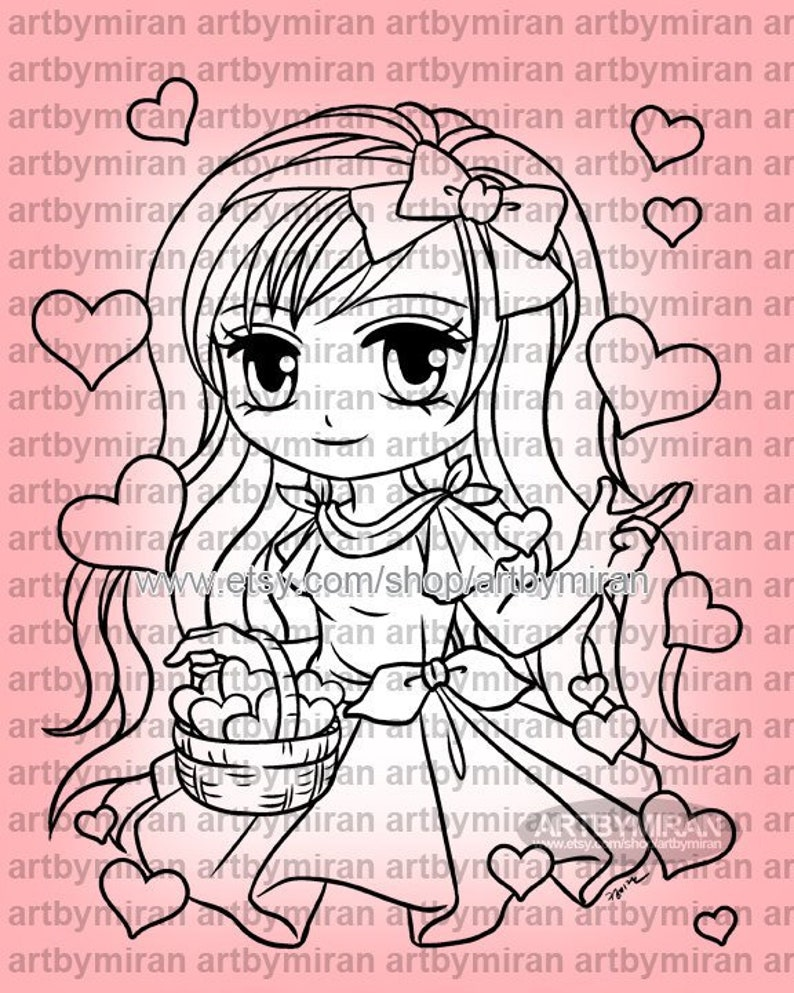 Valentine Digital Stamp  Basket of Love 332 Digi Stamp image 0