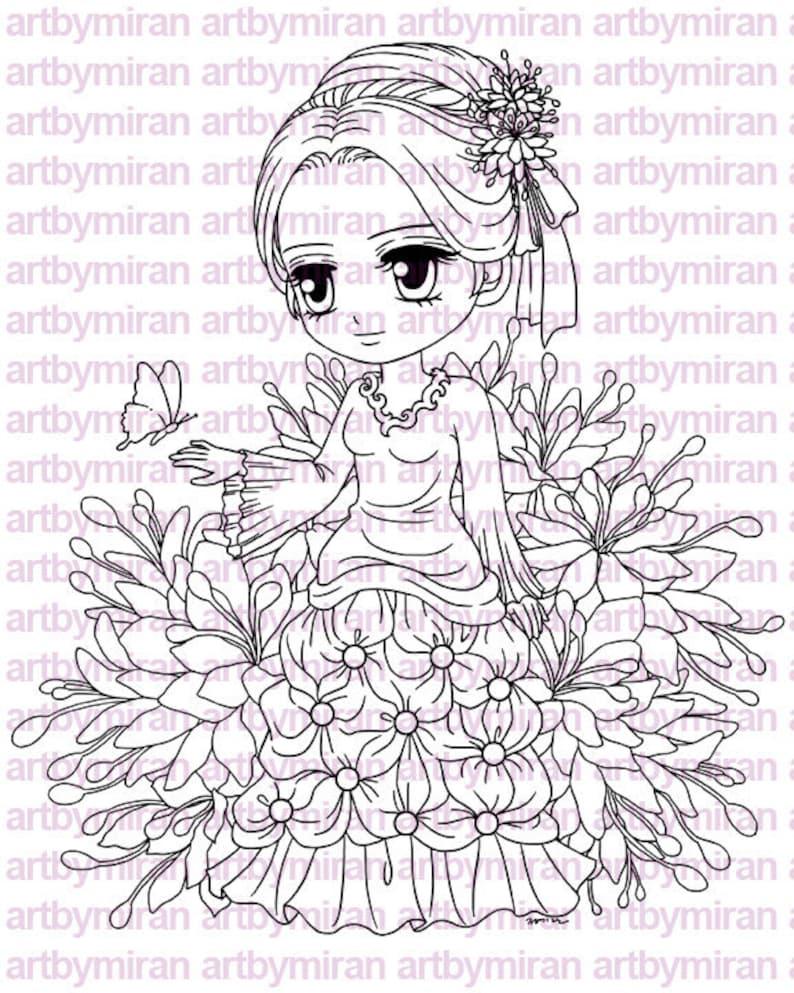 Digital Stamp  Lady Papillon122 Digi Stamp  Coloring image 0