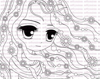 Digital Stamp-Spring Blossom, Digi Stamp, Coloring page, Printable Line art for Card and Craft Supply