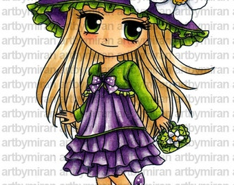 Digital Stamp - Gina(#274), Digi Stamp, Coloring page, Printable Line art for Card and Craft Supply