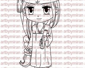 Graduation Digital Stamp - Graduating Kim(#199), Digi Stamp,  Printable Line art for Card and Craft Supply