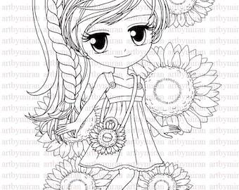 Digi Stamp-Miss Sunshine (#35) (with Sunflowers background), Digital Stamp,  Art by Mi Ran Jung