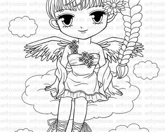 Digi Stamp, Pretty Girl Angel Coloring page, Big eyed girl Digital Stamp, Printable Line art for Card and Craft Supply, Art by Mi Ran Jung