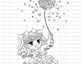 Digital Stamp-Dandelion(#15), Spring Coloring page, Digi Stamp, Printable Line art for Card and Craft Supply, Art by Mi Ran Jung