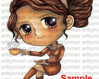 Coffee Time Digital Stamps, Big Eyed girl Coloring Page, Instant Download Digi Stamp, Line Art for Card, Art by Mi Ran Jung