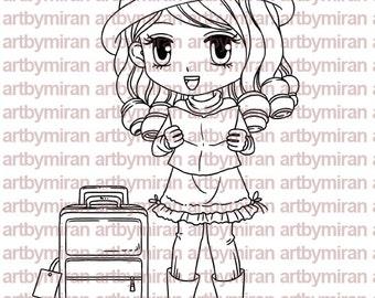 Digital Stamp - Tania(#187), Digi Stamp,  Printable Line art for Card and Craft Supply