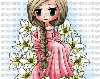 Digital Stamp - Lily (#264), Digi Stamp, Coloring page, Printable Line art for Card and Craft Supply