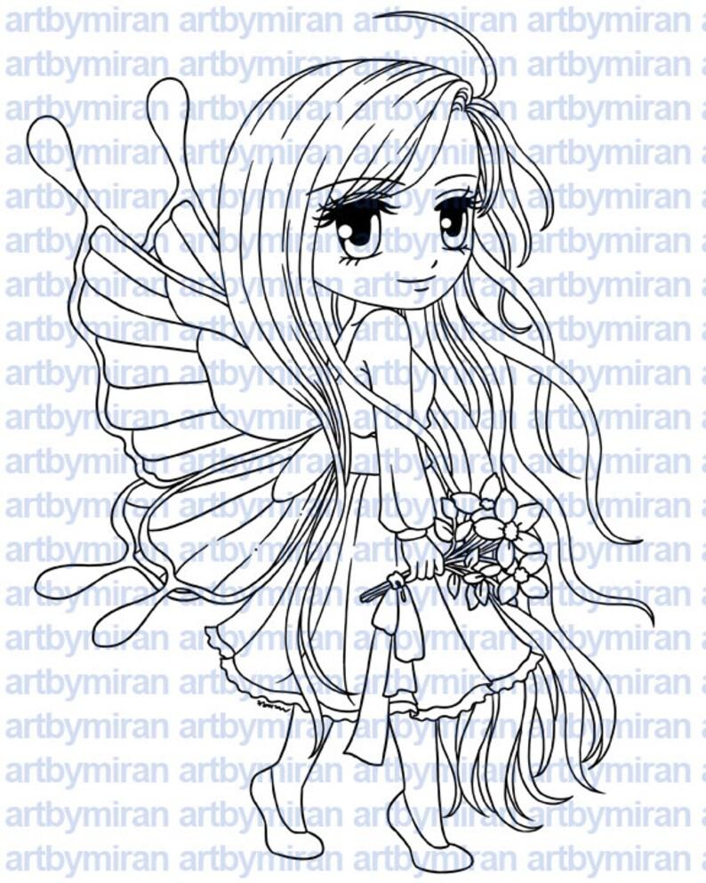 Fairy Digital Stamp  Flutterby184 Digi Stamp Printable image 0