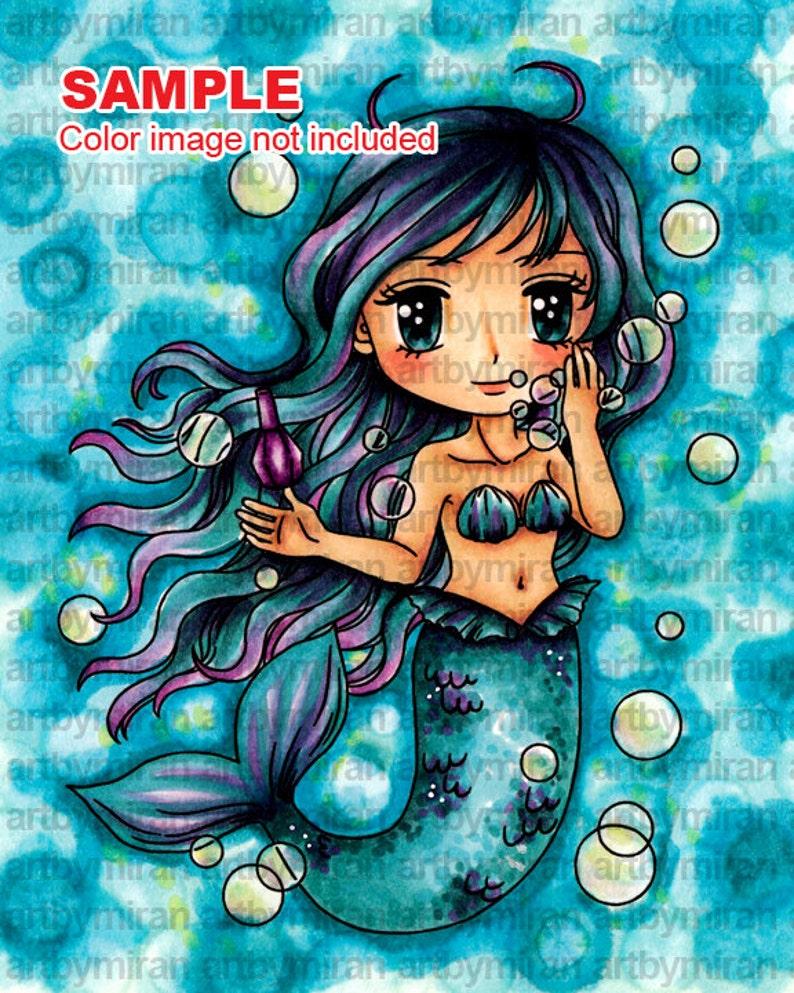 Mermaid Digital Stamp  Marina190 Digi Stamp  Printable image 0