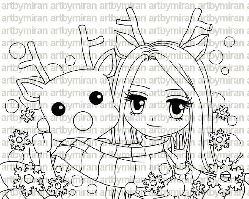 Christmas Digital Stamp  Reindeer Friendship 235 image 0